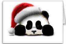 Christmas pandas and animals