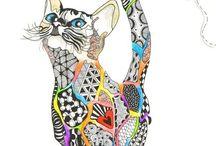 Renkli kedi çini