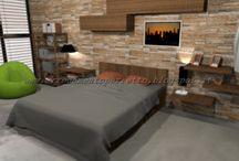 Camera urban chic by Consigli D'arredo / Progetto in 3D della camera da letto in stile metrolitano: scelta dei colori e degli elementi architettonici