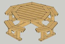 Woodworking projects / Octagonal picnic table, work bench, Adirondack chairs and tables, miter saw table, table saw table