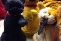 Figuras de Fieltro: Animales / Te gustan los gatos? Tienes uno? Envíame una foto del tuyo y te confeccionaré tu gatito a escala completamente esculpido en fieltro y con técnica de agujado, 100% a mano!