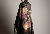 Antique silk piano shawl/robe