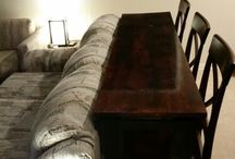 counter table behind couch
