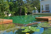 BIOTOP Natural Pools - Natural Formal Contemporary / Like wild swimming in your own garden, in crystal clear water, filtered naturally by beautiful water plants. #NaturalPools #ChemicalFree #SwimmingPond #OrganicPool #Biotop #SwimmingPool