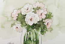 acuarelas flores