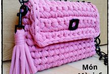 crochet and knitted bags and baskets