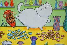 Gatos / Desenho e Pintura / by Maria Jose Puntel