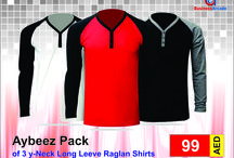 Aybeez Pack Of 3 y-Neck Long Leeve Raglan Shirts KDCS-140 / Buy All types of Casual shirts at BusinessArcade.com UAE. we offer branded fashion products at a best price and with the promise of quality. We Care Our Customer More Than Our Self.