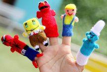Knitted finger puppetd