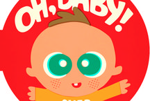 Oh, Baby! / A round, chunky board book that features adorable illustrations of wide-eyed infants doing baby stuff–crawling, reaching, rolling–which is exactly what babies like to look at.