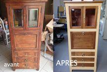 Petit meuble en chêne restauré et patiné / Je vous présente un petit meuble en chêne assez ancien que j'ai restauré et patiné. Le chêne a retrouvé sa couleur dorée. . La finition est cirée.