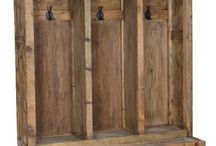 Rustic Hall Trees & Entryway Benches With Storage / Do you have a mud room or entryway that needs a functional storage solution? Here are some solid wood, reclaimed wood and painted solutions that include a bench, coat rack, and shoe storage. Rustic hall trees and storage benches.