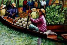 Floating Market, Bangkok, Thailand / Dan Civa paintings from Floating Market = 100 km from Bangkok, Thailand