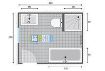 Plans pour grandes salles de bain de 7m2 à 13m2 / Plan salle de bain 7m2, Plan salle de bain 8m2, Plan salle de bain 9m2, Plan salle de bain 10m2, Plan salle de bain 11m2, Plan salle de bain 12m2 et Plan salle de bain 13m2