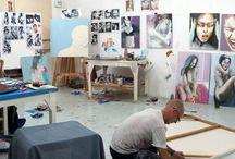 Studio / photographs of studio shots, process and working enviroment
