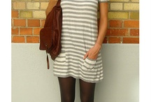 Gray and white long sleeve striped dress