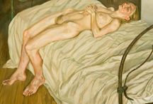 Art of Lucian Freud / Lucian Freud (1922-2011) was a German-born British painter. He is famous for his thickly impastoed portrait and figure paintings.  The pre-eminent British artist of his time, known for psychological penetration and discomforting examination of the model.
