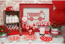 Celebrate: Fire Truck Party / Fire trucks make for a great centerpiece for a kid's party! Fire trucks, Dalmatians, firehouses, and fire safety.