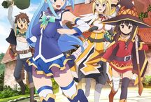 ◀|KonoSuba|▶ / There is an anime, wich I laughed very much! :'D Kazuma, the NEET, Aqua, the blue haired god, Megumin, the  blasting wizard and Darkness, the sassy knight's adventures in a really REALLY funny world with enemies and khm... funservice and a lots of funny things! Watch it, this is awasome!