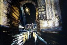 my painting / Budapest painting by night by Renata Palasti