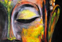 Buddha colourful oil painting