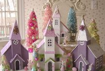 glitter easter houses