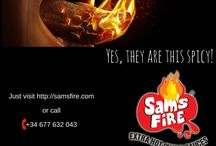 Sam's Fire Posters / Buy Sam's Fire Extra Hot Chilli Sauces online in UK, which is made from fresh habanero peppers, garlic and olive oil.