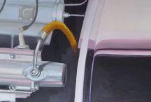 LE CALME AVANT LA TEMPETE / VOITURE/Moteur /voiture course /PEINTURE Huile sur toile  150x50