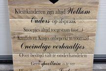 tekstborden / bord van gebruikt steigerhout met diverse teksten