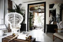 Boho Black & White / A collection of pieces from MIX and inspirational images. Who doesn't love a modern black and white interior with a warm boho edge?
