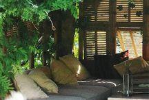 Wood table in pergola