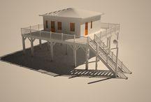 cabanes tchanquées du bassin d'arcachon / Architekturvisualisierung, Rohfassung ohne Material