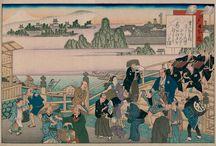 Viaje por el Tokaido / Imáges del libro Viaje por el Tōkaidō. Un rato a pie y otro caminando de Ikku Jippensha