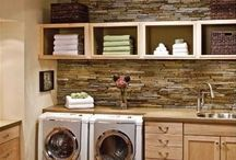 Pretty Laundry Rooms / Organized laundry spaces | Laundry Closets | Laundry rooms | A place for everything | Labeled Baskets | Folding table | Drying rack