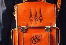 Men's handmade messenger bag, pyrographied Chimeras №2