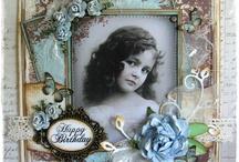 carte shabby chic / decoration de cartes , de tags, avec des rubans, dentelles, fleurs.