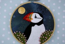 Hoop framed embroideries / Textile artwork made with hand appliqued fabric and embroidery, framed in a wooden hoop.