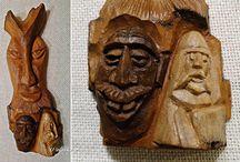 Rzeźby / Rzeźby i płaskorzeźby wykonywane w korze i lipie.