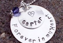 Memorial Necklaces / Memorial necklaces for loss of a child by miscarriage, baby stillbirth, or child.  Jewelry is hand stamped.