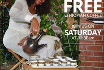 Ethiopian Coffee Ceremony / Weekly Ethiopian Coffee Ceremonies where we roast and brew authentic Arabica coffee. Join us for free samples.