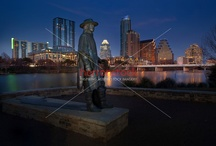 Stevie Ray Vaughan SRV Memorial Statue on Town Lake Austin / he city of Austin erected the Stevie Ray Vaughan Memorial Statue at Auditorium Shores on Lady Bird Lake, the site of a number of his concerts. It has become one of the city's most popular tourist attractions.