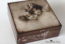 caixa madeira decopage de fotos