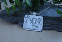 Children's Artwork Pendants and Keychains / Your child's artwork preserved forever in fine silver! / by Metalmorphis Jewelry