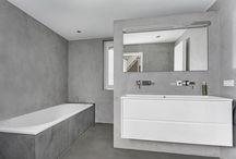 Betonstuc badkamers / Voorbeelden Beton Lissé badkamers. Ook wel betonlook badkamers, Beton ciré of betonstuc genoemd.