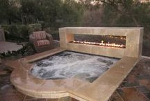 hot tub with fireplace