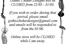 Vacation notice / Please take note of certain dates where Gothic Choker Designs will be closed to orders, as I will be away on holiday.