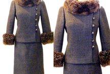 Vintage fur trimmed skirt suit