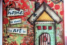 canvases / canvases with houses