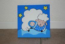Schilderijen kinderkamer / Verschillende schilderijtjes gemaakt voor een kinderkamer