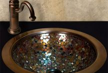 Mosaic Tile Sinks - Kitchen & Bath Sinks / Beautiful Mosaic tile kitchen and bathroom sinks handcrafted using a variety of materials; Stone, mother of pearl, glass, stainless steel.